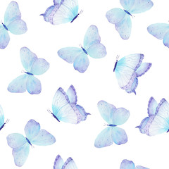 Watercolor butterfly seamless pattern hand drawn