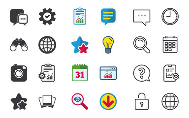 Social media icons. Chat speech bubble and world globe symbols. Hipster photo camera sign. Photo frames. Chat, Report and Calendar signs. Stars, Statistics and Download icons. Vector
