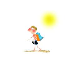 Ragazzo con scottatura solare