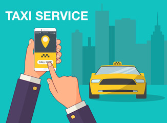 Phone with interface taxi on a screen on a background the city. Mobile app for booking service. Flat vector illustration for business, info graphic, banner, presentations.