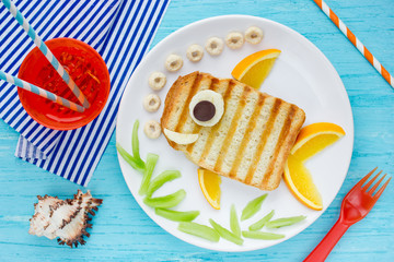 Funny sandwich like a fish for kids