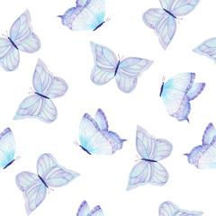 Watercolor hand drawn butterflies pattern