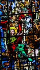 Stained Glass in Rouen Cathedral - Trial of Joan of Arc