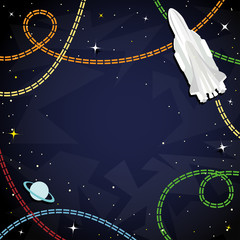 Space shuttle among the stars and planets and space for text