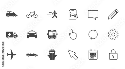 Transport Icons Car Bike Bus And Taxi Signs Shipping Delivery - Car signs and symbols