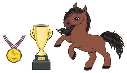 Horse, animal, cartoon, stallion, hooves, neigh, toy, brown, Cup, gold, prize, reward, victory, winner, medal,