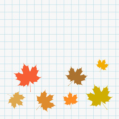 School web banner with maple leaves icons on squared paper