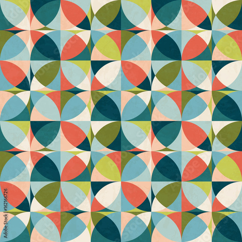 Abstract Geometric Seamless Pattern In Mid Century Modern Colors Vector Illustration With Texture