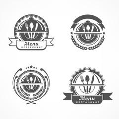 Set of design menu label with fork, spoon knife, emblems