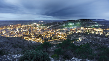 Top view of Cuenca at dusk, wide angle