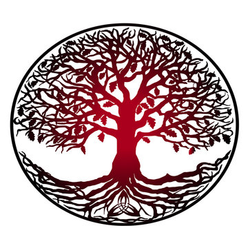 Sketch of tattoo tree of life - red gradient. Tree with roots