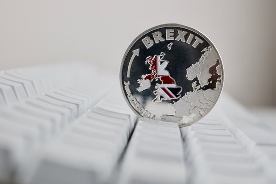 Silver Brexit coin with map