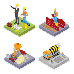 Isometric Construction Industry. Workers, Mixer and Buildings. Vector flat 3d illustration