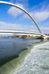 Des Moines River Principal Riverwalk Bridge Midwest Vertical