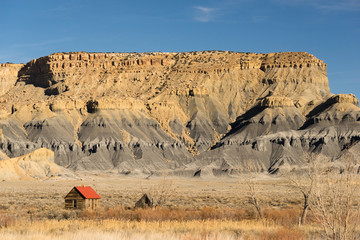 Red Roofed Cabin Utah Wilderness Badlands
