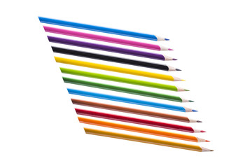 Pencils 12 pieces of bright colors on a white background