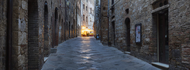 last night lights on the street in Tuscany city in Italy