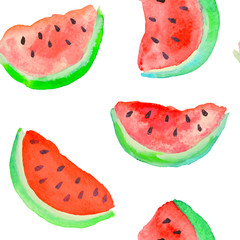 Vector seamless pattern with watercolor slices of watermelon on white background