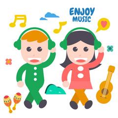 Enjoy Music, Flat Design Elements. Vector Illustration.