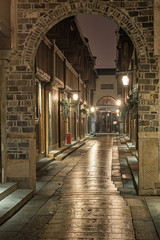 Narrow street in the old town of Wuzhen, China at night