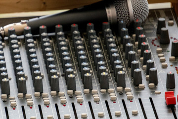 sound mixer and microphone close up
