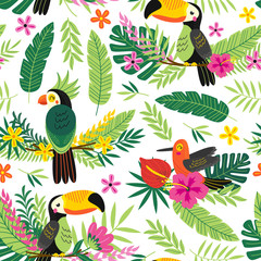 seamless pattern with tropical birds - vector illustration, eps
