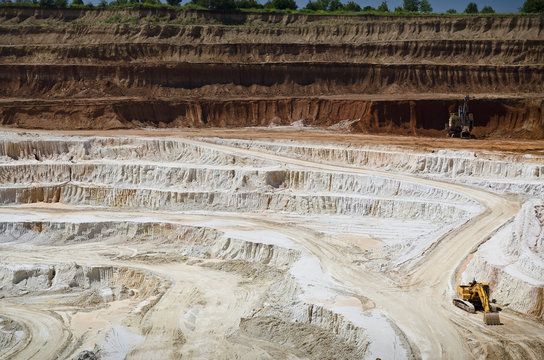 Stone quarry with excavate - Open pit mine