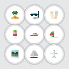 Flat Icon Beach Set Of Aircraft, Scuba Diving, Reminders And Other Vector Objects. Also Includes Island, Sandals, Yacht Elements.
