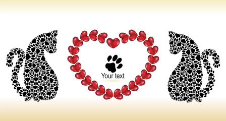 Silhouettes of cats with hearts. Valentine day's card