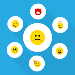 Flat Icon Emoji Set Of Wonder, Pouting, Sad And Other Vector Objects. Also Includes Confused, Sad, Emoji Elements.
