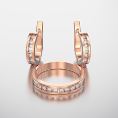 3D illustration rose gold diamond ring and diamond earring with reflection