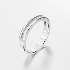 3D illustration white gold or silver ring with diamonds with reflection