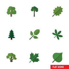 Flat Icon Bio Set Of Oaken, Tree, Maple And Other Vector Objects. Also Includes Evergreen, Leaf, Foliage Elements.