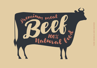 Image with cow silhouette. Typographic hand-draw. Farm animals with sample text.