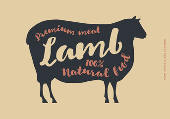 Image with lamb silhouette. Typographic hand-draw. Farm animals with sample text.