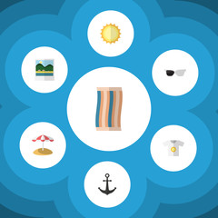 Flat Icon Summer Set Of Wiper, Parasol, Sunshine And Other Vector Objects. Also Includes Beach, Pictures, Anchor Elements.
