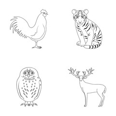 Rooster, tiger, deer, owl and other animals.Animals set collection icons in outline style vector symbol stock illustration web.