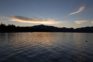 Lake Tahoe sunset over water with mountain silhouette