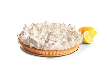 Fototapete - Tasty lemon meringue pie on white background
