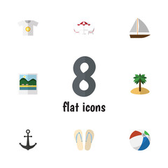 Flat Icon Summer Set Of Yacht, Reminders, Clothes And Other Vector Objects. Also Includes Foto, Island, Reminders Elements.