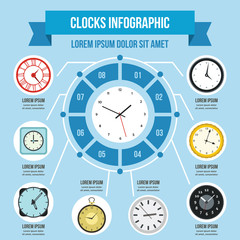 Clocks infographic concept, flat style