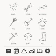 Scissors, hammer and gloves icons. Shovel, watering can and rake linear signs. Cloak, boots and flower flat line icons. Education book, Graph chart and Chat signs. Vector