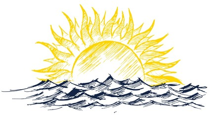 sun dawn Drawing in the sea.