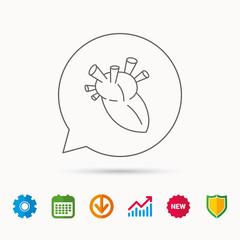 Heart icon. Human organ sign. Surgical transplantation symbol. Calendar, Graph chart and Cogwheel signs. Download and Shield web icons. Vector
