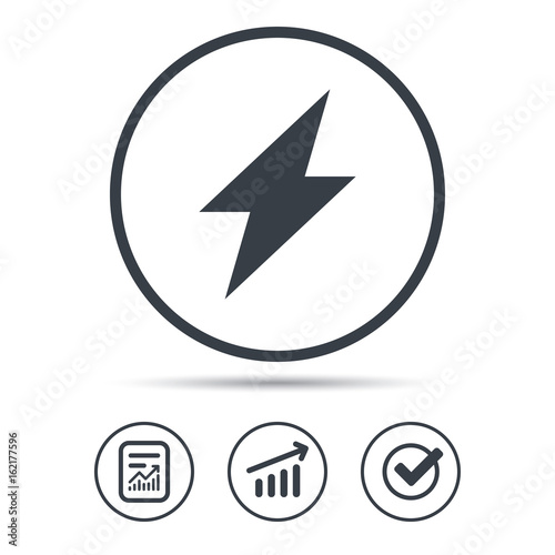 Lightning Icon Electricity Energy Power Symbol Report Document