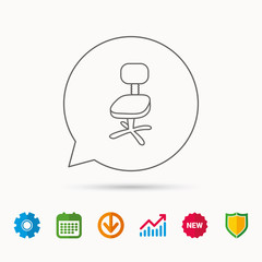 Office chair icon. Business armchair sign. Calendar, Graph chart and Cogwheel signs. Download and Shield web icons. Vector