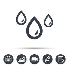 Water drop icon. Rainy weather symbol. Calendar, chart and checklist signs. Video camera and attach clip web icons. Vector