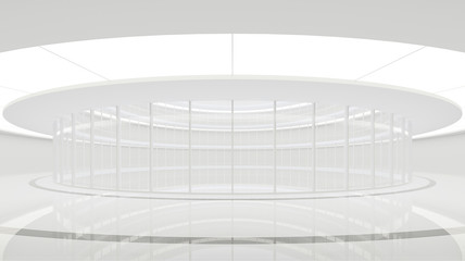 Empty white room modern space interior 3d rendering image.The white room in the circular building has glass walls.