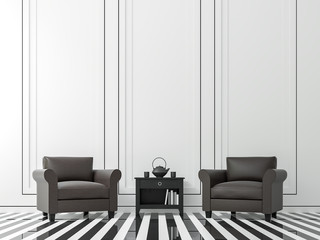 Modern vintage living room with black and white 3d rendering image .White living room There is a black and white floor. Wall decor with black groove and finished with dark brown armchair.