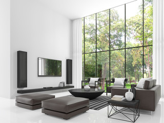 Modern white living room 3d rendering image.The living room has a high ceiling. There is a white wall,floors and decorate with black tone furniture and there has a  large windows overlook the garden